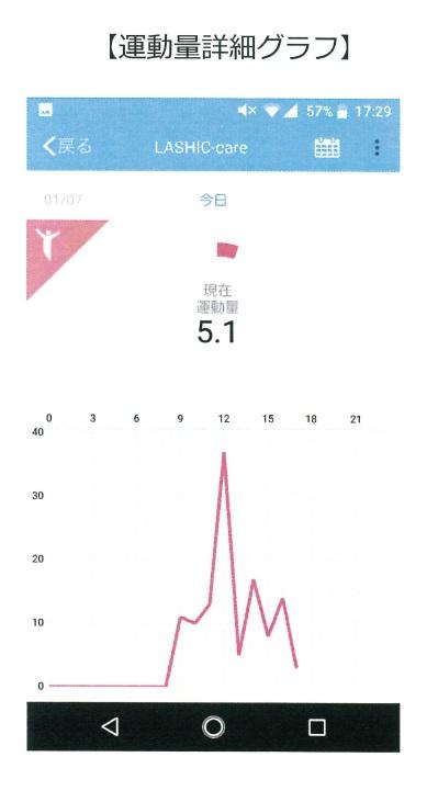 LASHIC アプリ 運動量グラフ